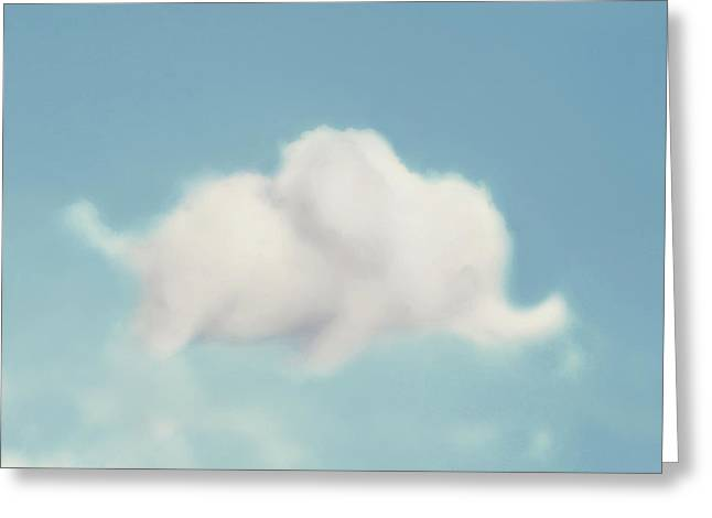 Elephant In The Sky - Square Format Greeting Card by Amy Tyler
