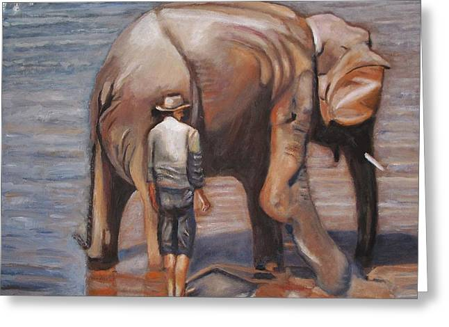 Elephant Man Greeting Card by Keith Bagg