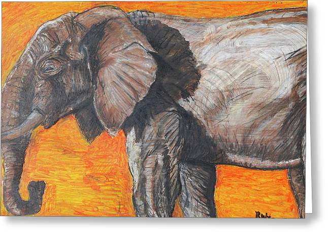 Mix Medium Paintings Greeting Cards - Elephant Greeting Card by Richard Wynne