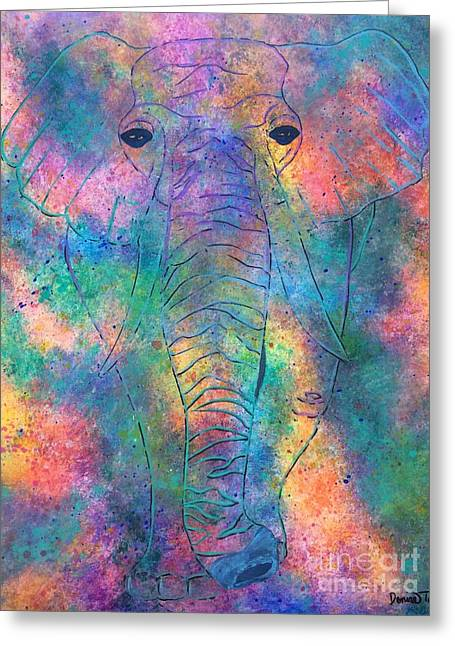 Greeting Card featuring the painting Elephant Spirit by Denise Tomasura