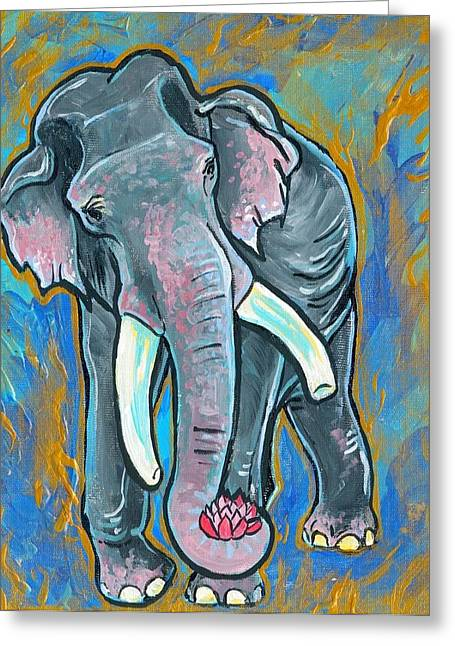 Elephant Spirit Dreams Greeting Card by Jenn Cunningham