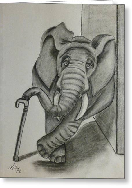 Greeting Card featuring the drawing Elephant Still Waiting by Kelly Mills
