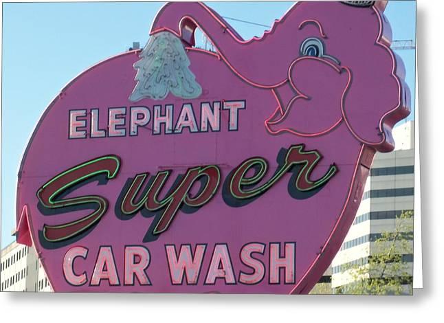 Seattle Landmark Greeting Cards - Elephant Super Car Wash Greeting Card by Randall Weidner
