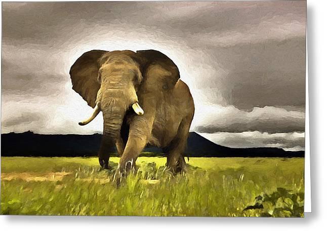Elephant Walk Greeting Card by Ronald Bolokofsky