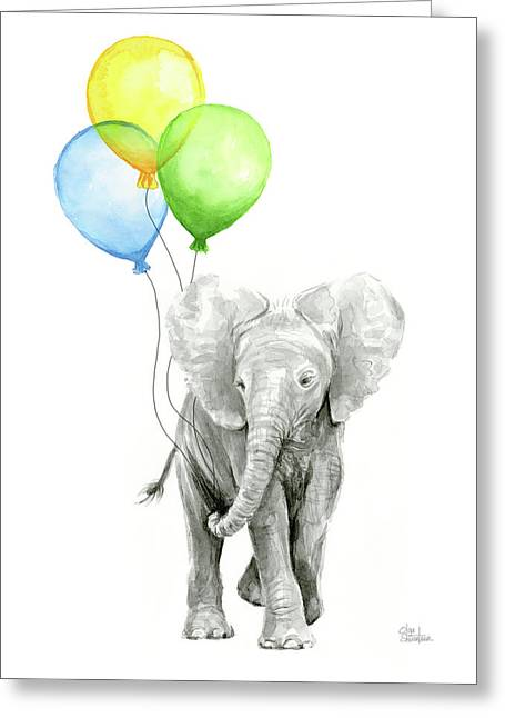 Elephant Watercolor Baby Animal Nursery Art Greeting Card by Olga Shvartsur