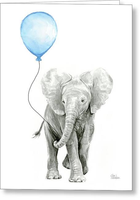 Elephant Watercolor Blue Nursery Art Greeting Card by Olga Shvartsur