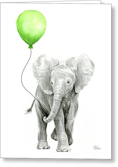 Elephant Watercolor Green Balloon Kids Room Art  Greeting Card by Olga Shvartsur
