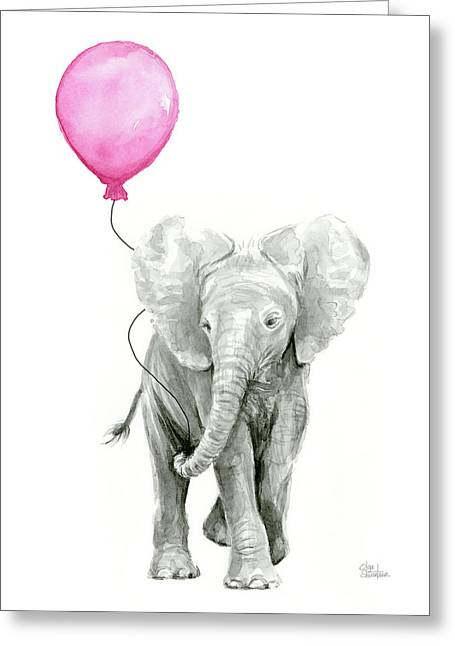 Baby Elephant Watercolor  Greeting Card