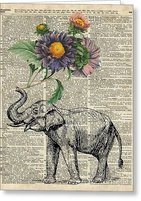 Elephant With Flowers Greeting Card by Jacob Kuch