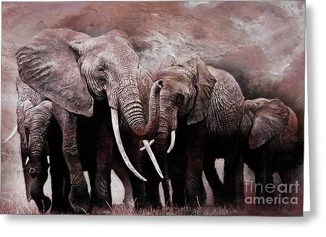 Elephants Group  Greeting Card