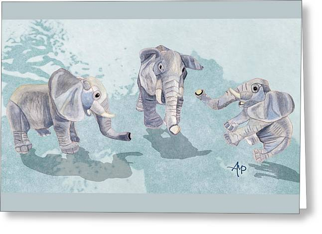 Elephants In Blue Greeting Card