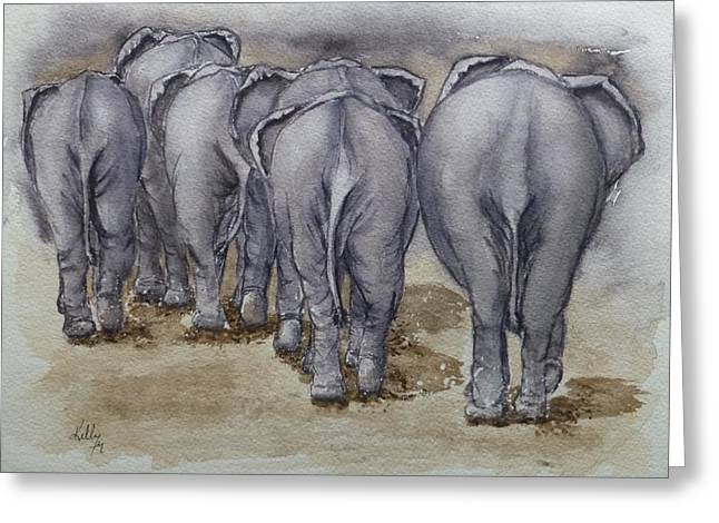 Elephants Leaving...no Butts About It Greeting Card