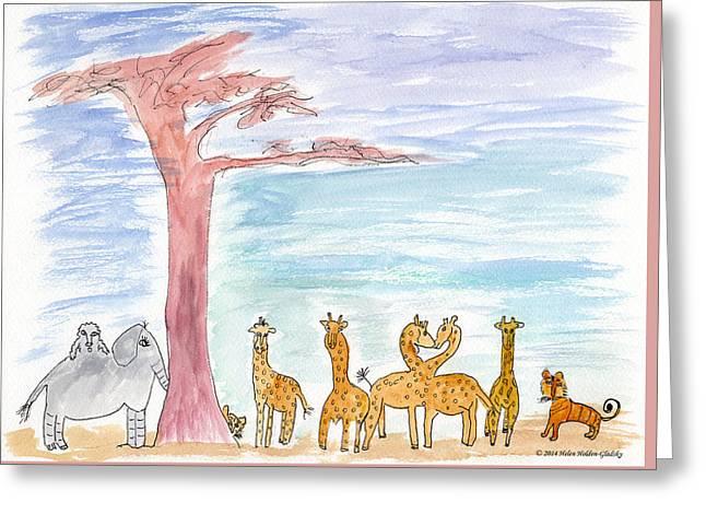 Elephoot By Baobab Tree Greeting Card