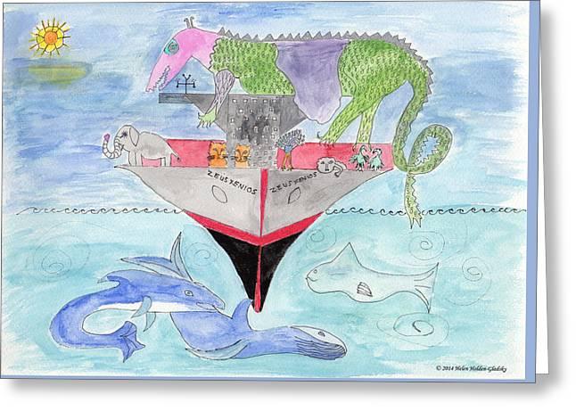 Elephoot On Tanker Ship Greeting Card