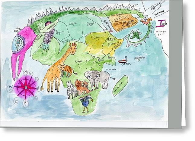 Elephoot's Map Of Africa Greeting Card