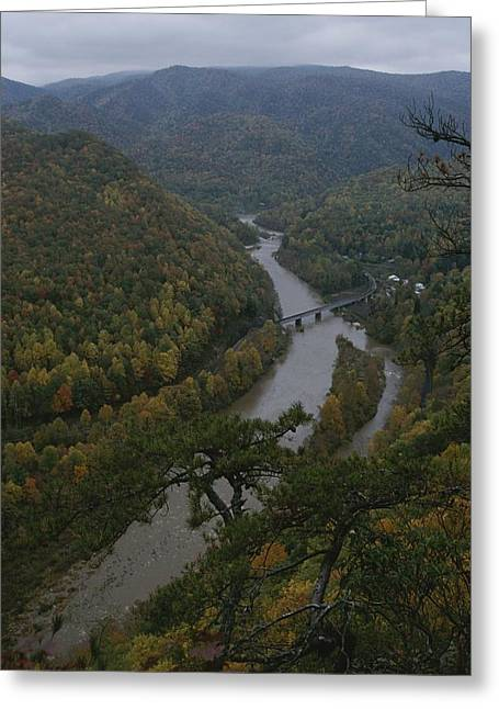 River Scenes Greeting Cards - Elevated Autumn View Of The Nolichucky Greeting Card by Stephen Alvarez