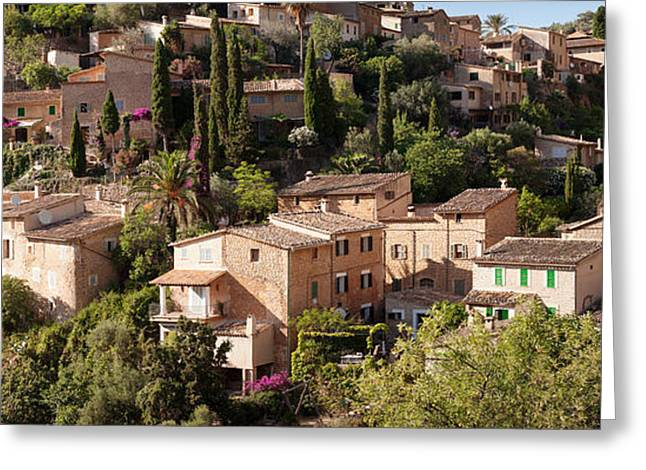 Elevated View Of The Deia, Serra De Greeting Card by Panoramic Images