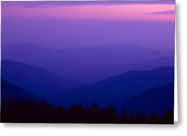 Elevated View Of Valley With Mountains Greeting Card