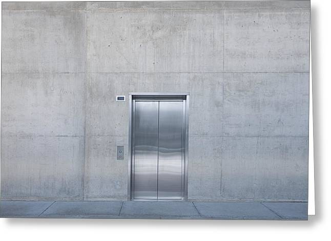 Stainless Steel Greeting Cards - Elevator into Building Greeting Card by Dave & Les Jacobs