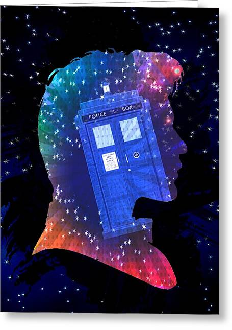 Doctor Who Inspired Eleventh Doctor Tardis Greeting Card by Alondra Hanley