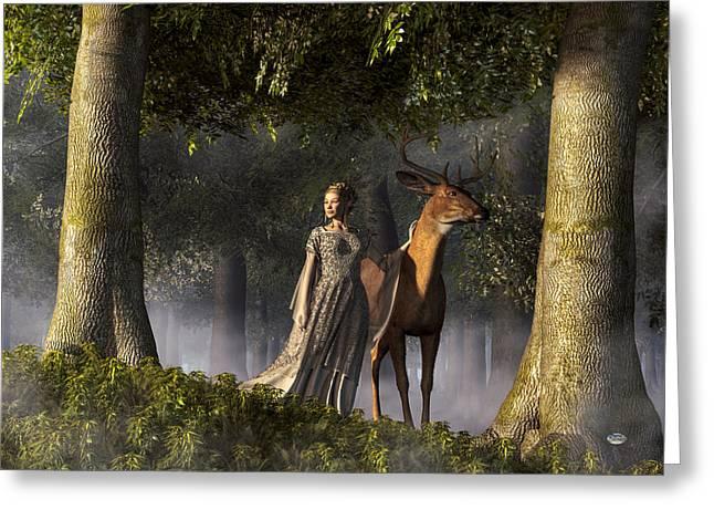 Elf And Buck Greeting Card by Daniel Eskridge