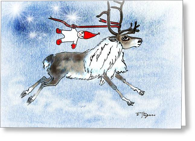 Elf And Reindeer Greeting Card