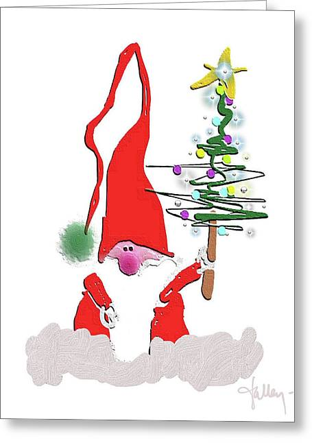 Greeting Card featuring the mixed media Elf  by Larry Talley