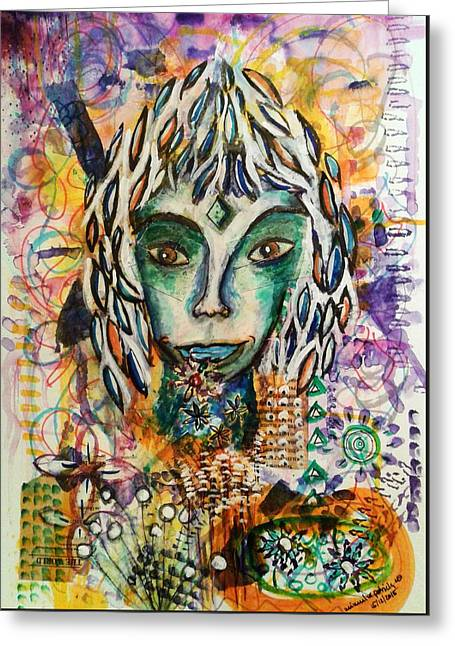 Greeting Card featuring the mixed media Elf by Mimulux patricia no No