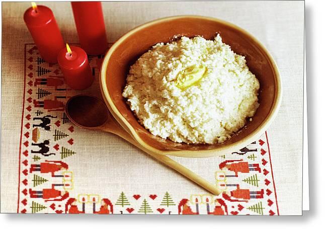 Elf Porridge Greeting Card by Kim Lessel