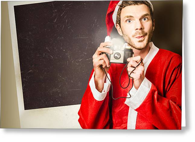 Elf Taking Christmas Photo With Santa Greeting Card by Jorgo Photography - Wall Art Gallery