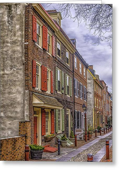 Elfreth's Alley Greeting Card by Nick Zelinsky