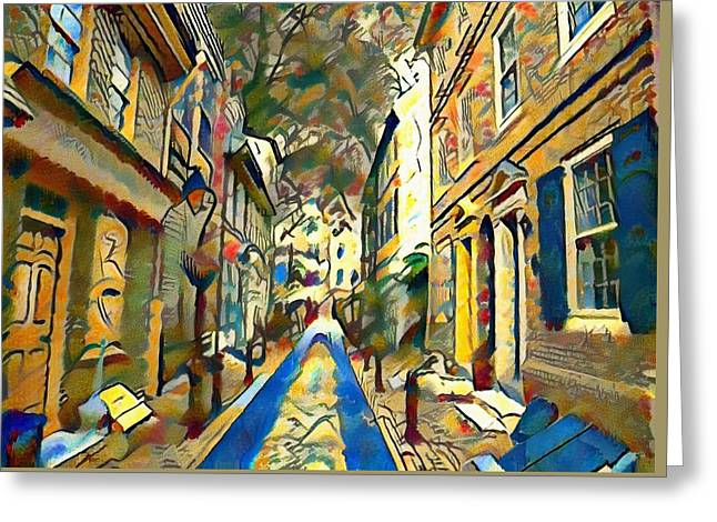 Elfreths Alley Watercolor Greeting Card by Bill Cannon
