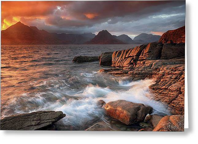 Greeting Card featuring the photograph Elgol Stormy Sunset by Grant Glendinning