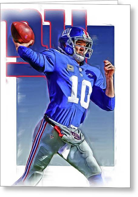 Eli Manning New York Giants Oil Art 2 Greeting Card