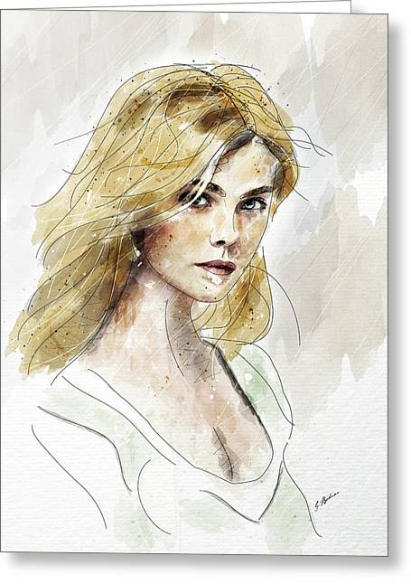 Eliannah Study In Watercolor Greeting Card