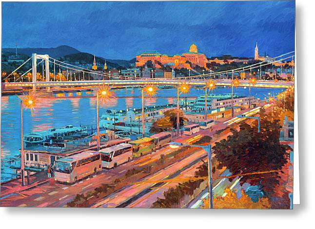 Elisabeth Bridge With Lights Greeting Card