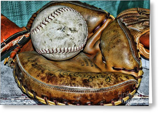 Eliseo Rodriguez Catchers Mitt Greeting Card by Paul Ward