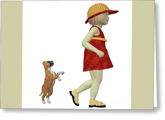 Eliza With Boxer Puppy Greeting Card by Corey Ford