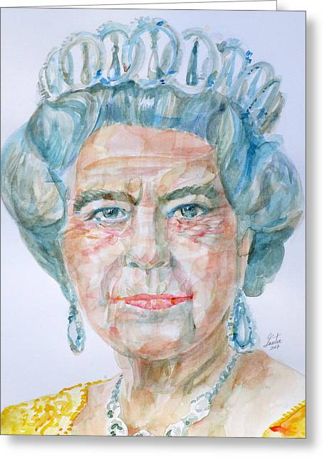 Greeting Card featuring the painting Elizabeth II - Watercolor Portrait.2 by Fabrizio Cassetta