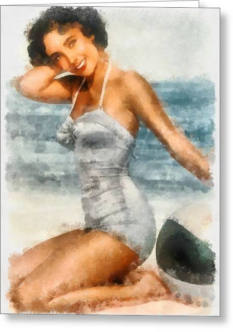 Elizabeth Taylor Actress Greeting Card by Esoterica Art Agency