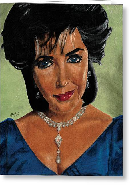 Diamond Pastels Greeting Cards - Elizabeth Taylor and La Paragrina Pearl Greeting Card by Jeffrey J Steinberg