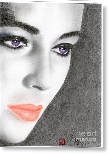 Greeting Card featuring the drawing Elizabeth Taylor by Eliza Lo