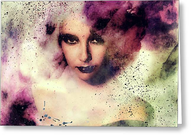 Elizabeth Taylor Grunge Abstract Realism Greeting Card by Georgiana Romanovna