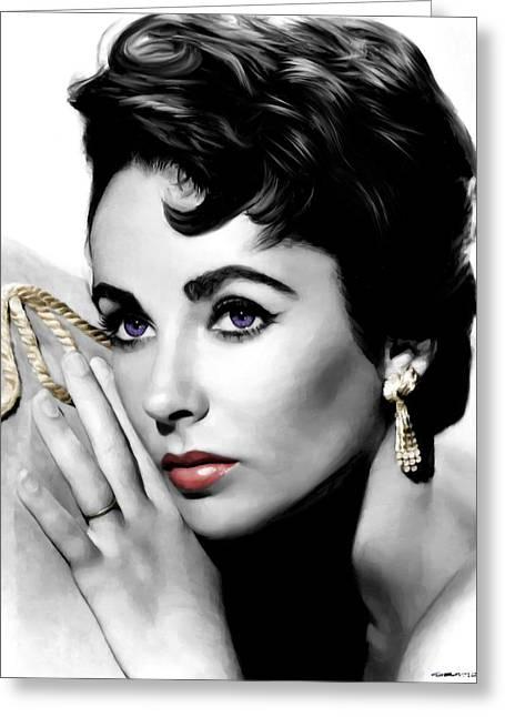Elizabeth Taylor Portrait Greeting Card by Gabriel T Toro