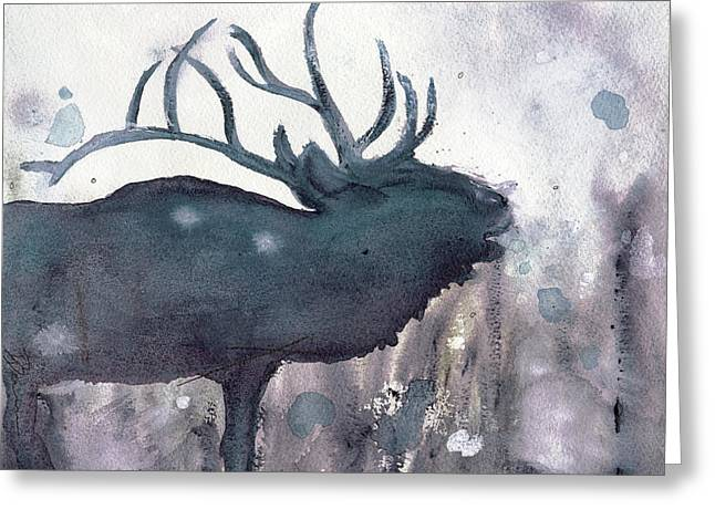 Greeting Card featuring the painting Elk by Dawn Derman