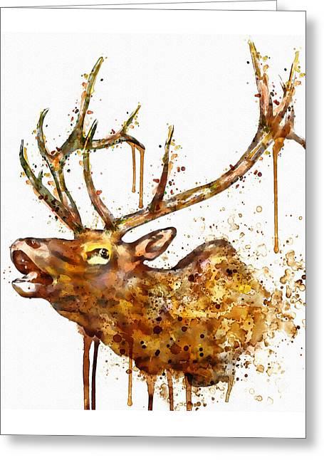 Elk In Watercolor Greeting Card