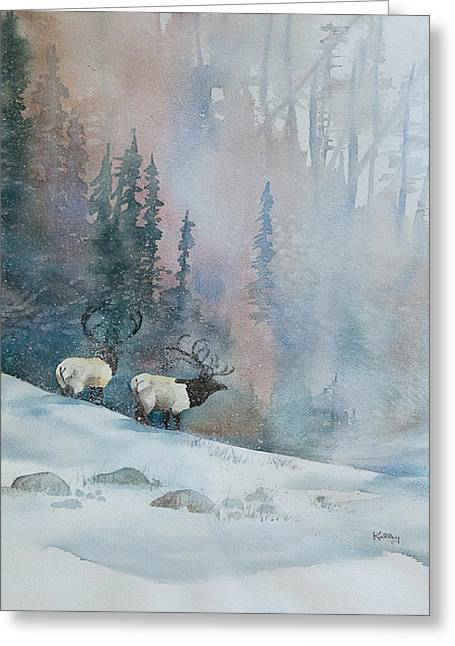 Elk In Winter Greeting Card