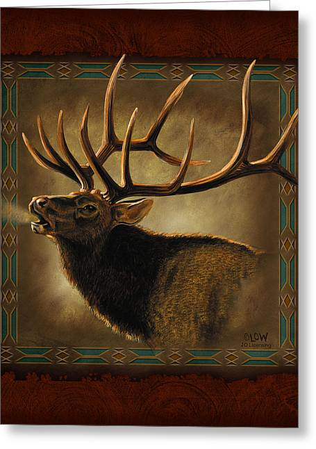 Hunting Cabin Greeting Cards - Elk Lodge Greeting Card by JQ Licensing