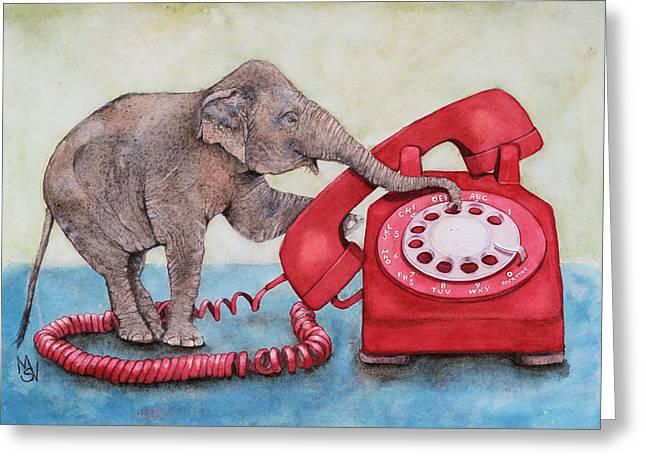 Ella And The Red Telephone Greeting Card by Marie Stone Van Vuuren
