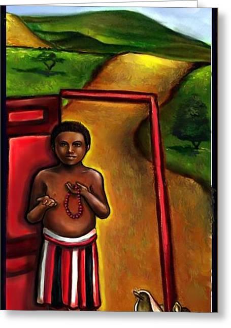 Elegua -guardian Of Crossroads Greeting Card by Carmen Cordova